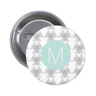 Aztec Themed Triangle Tribal Pattern Mint Monogram Button