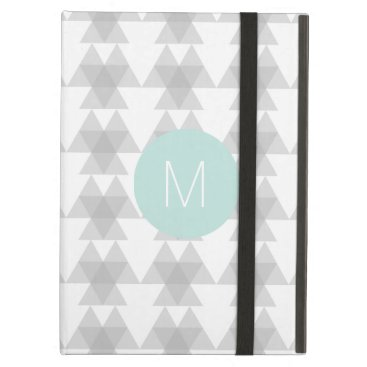 Aztec Themed Triangle Tribal Pattern Mint Monogram Case For iPad Air