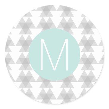 Aztec Themed Triangle Tribal Pattern Mint Monogram Classic Round Sticker