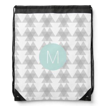 Aztec Themed Triangle Tribal Pattern Mint Monogram Drawstring Bag