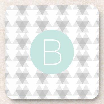 Aztec Themed Triangle Tribal Pattern Mint Monogram Drink Coaster