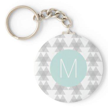 Aztec Themed Triangle Tribal Pattern Mint Monogram Keychain