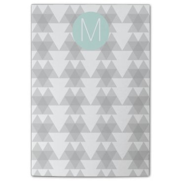 Aztec Themed Triangle Tribal Pattern Mint Monogram Post-it Notes