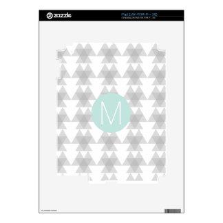 Triangle Tribal Pattern Mint Monogram Skin For iPad 2
