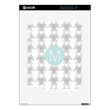 Aztec Themed Triangle Tribal Pattern Mint Monogram Skin For iPad 2