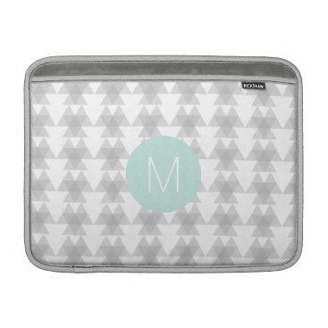 Aztec Themed Triangle Tribal Pattern Mint Monogram Sleeve For MacBook Air