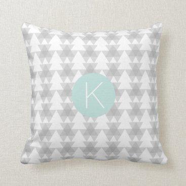 Aztec Themed Triangle Tribal Pattern Mint Monogram Throw Pillow