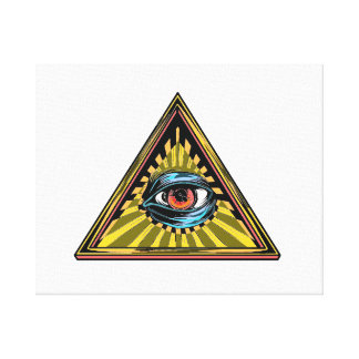 Triangle yellow with eye Eye of Providence Canvas Print