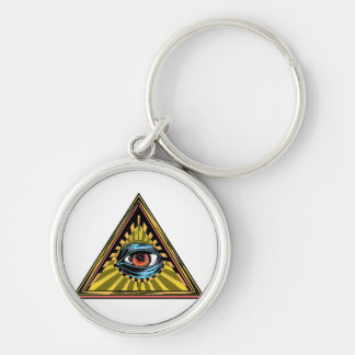 Triangle yellow with eye Eye of Providence Keychain