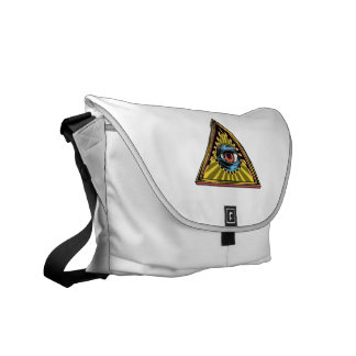 Triangle yellow with eye Eye of Providence Messenger Bag