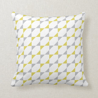 Triangles #1 | Yellow Gray Pattern Design Throw Pillow