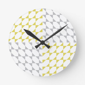 Triangles #2 | Yellow Gray Pattern Design Round Clock