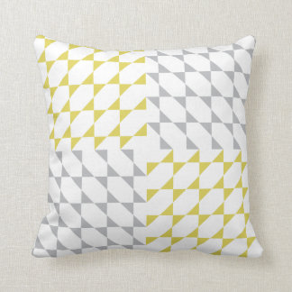 Triangles #2 | Yellow Gray Pattern Design Throw Pillow