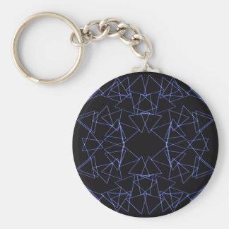 triangles basic round button keychain