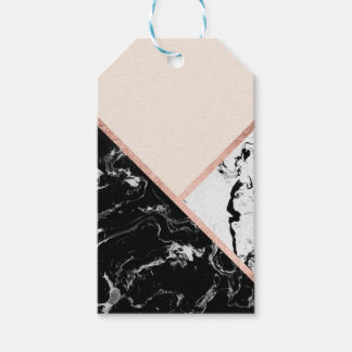 Triangles black white marble rose gold color block gift tags