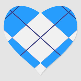 Triangles -Blue & White Heart Sticker