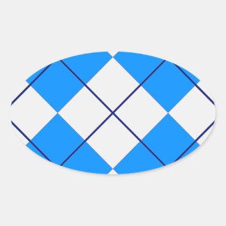 Triangles -Blue & White Oval Sticker