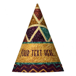 Triangles Chevrons Fake Glitter Gold Foil Party Hat