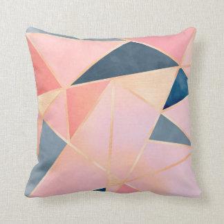 Triangles denim blue pink peach gold throw pillow