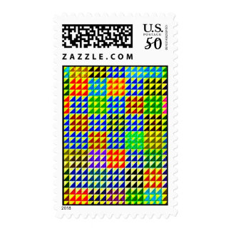 TRIANGLES HALF SQUARES COLORFUL PATTERN BACKGROUND POSTAGE