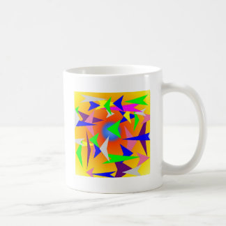 triangles in design with yellow background coffee mug