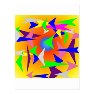 triangles in design with yellow background postcard