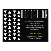 Triangles Yellow accent wedding reception insert Card