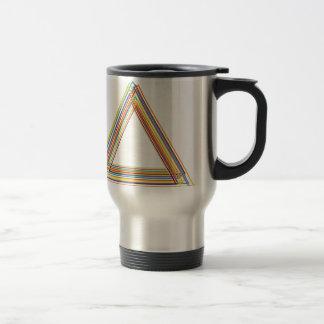 Triangular artwork with colorful lines travel mug