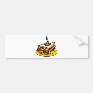 Triangular Cartoon Sandwich with Everything Bumper Sticker