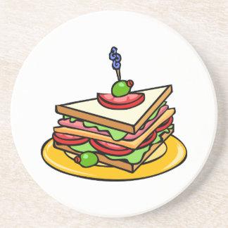 Triangular Cartoon Sandwich with Everything Beverage Coaster