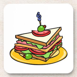 Triangular Cartoon Sandwich with Everything Beverage Coasters