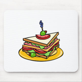 Triangular Cartoon Sandwich with Everything Mouse Pad