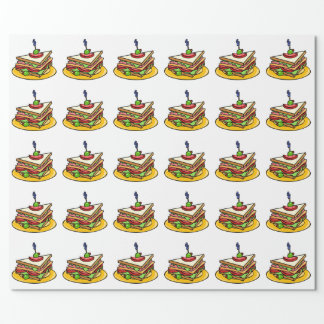 Triangular Cartoon Sandwich with Everything Wrapping Paper