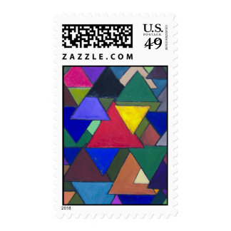 Triangular Colorful Invaders Stamp