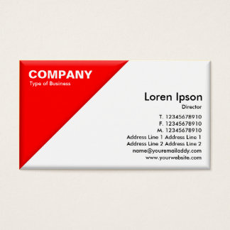Triangular Corner - 3d Effect - Red and White Business Card