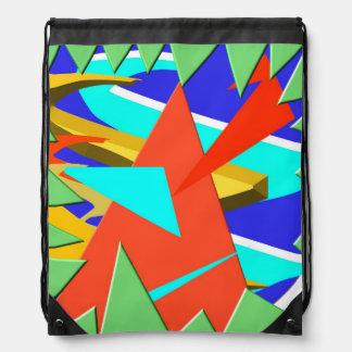 Triangular Dimension 3 Drawstring Bag