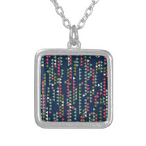 Triangular pattern silver plated necklace