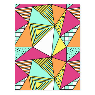 Triangular Pink Turquoise Yellow Postcard