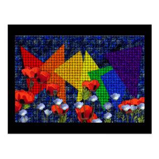 Triangular Rainbow Garden Post Card