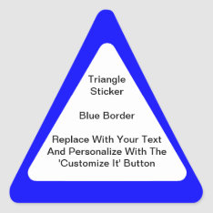 Triangular Stickers With A Blue Border In Sheets at Zazzle