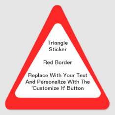 Triangular Stickers With A Red Border In Sheets at Zazzle