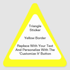 Triangular Stickers With A Yellow Border In Sheets at Zazzle