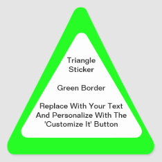 Triangular Stickers With Green Border In Sheets at Zazzle