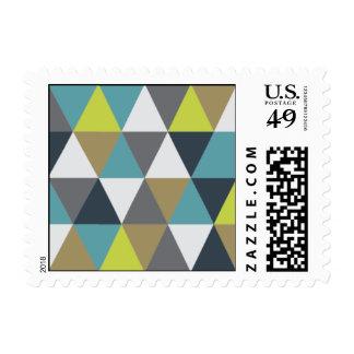 - Triángulo - azules marinos y trullo geométricos Sello
