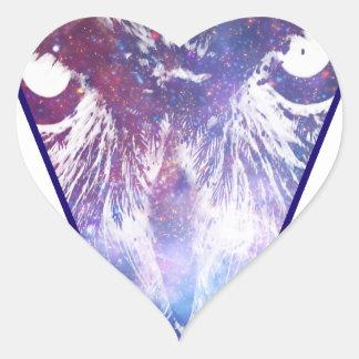 Triángulo cósmico del búho pegatina en forma de corazón