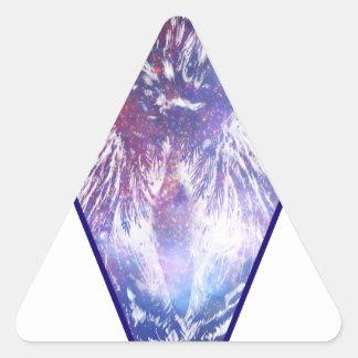 Triángulo cósmico del búho pegatina triangular