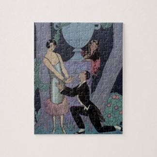 Triángulo de amor del claro de luna del art déco d puzzle