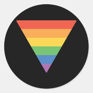 Triángulo del arco iris del orgullo gay pegatina redonda