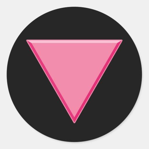 Triángulo del rosa del orgullo gay pegatinas redondas