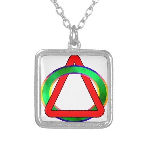 Triángulo en círculo colgante cuadrado